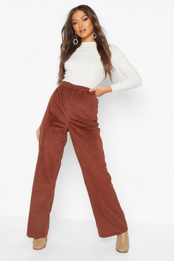 Womens Chocolate Cord Wide Leg Trouser