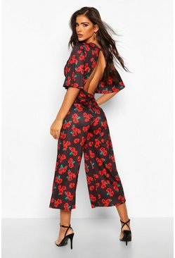 Womens Black Rose Print Flared Sleeve Culotte Jumpsuit