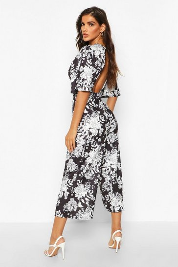 Black Floral Flared Sleeve Culotte Jumpsuit