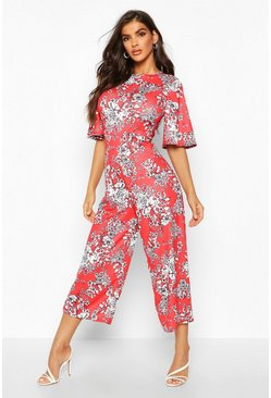 Womens Red Floral Flared Sleeve Culotte Jumpsuit