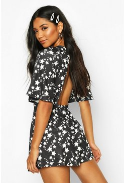 Womens Black Star Print Flared Sleeve Playsuit