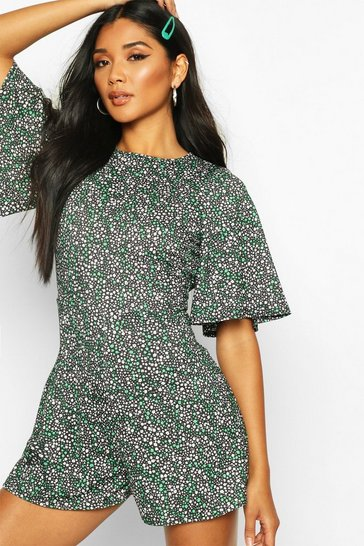Womens Green Mixed Floral Flare Sleeve Playsuit
