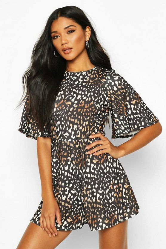 Mixed Leopard Flare Sleeve Playsuit