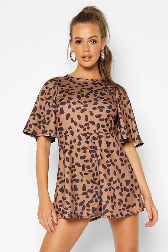 Leopard Print Flared Sleeve Playsuit
