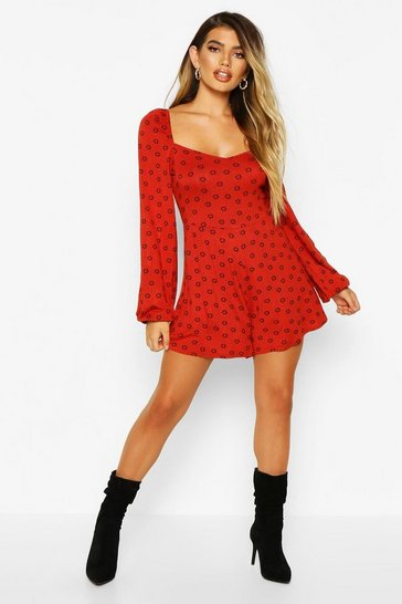 Womens Terracotta Ditsy Floral Balloon Sleeve Playsuit