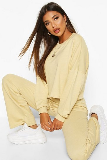 Womens Camel Cropped Sweat & Wide Leg Trouser Co-ord