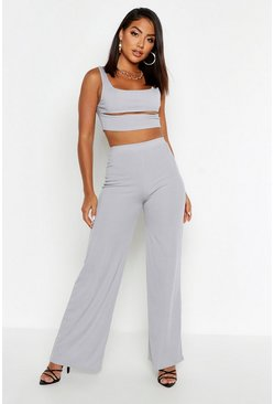 Cut Out Rib Top & Wide Leg Trouser Co-ord, Grey, FEMMES