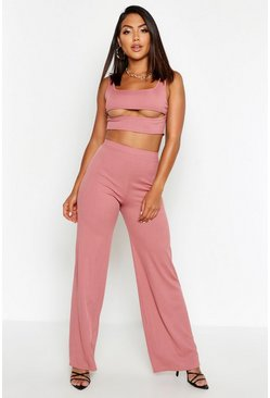 Womens Rose Cut Out Rib Top & Wide Leg Trouser Co-ord