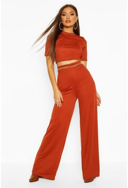 Womens Rust Crop Top & Fit And Flare Trouser Co-ord