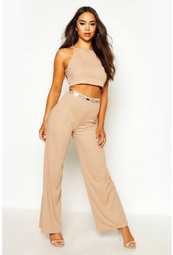 Womens Stone 90s Rib High Neck Top & Wide Leg Trouser Co-ord