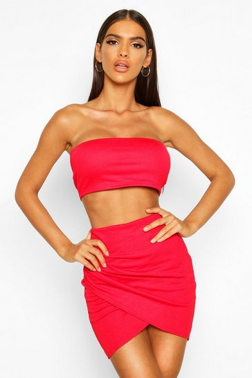 Red Bandeau & Wrap Skirt Co-ord