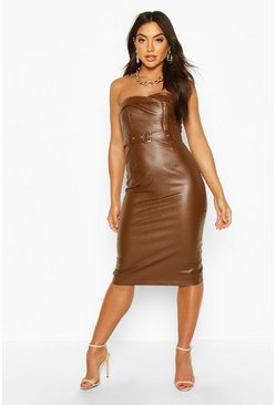 Chocolate Bandeau Leather Look Belted Midi Dress