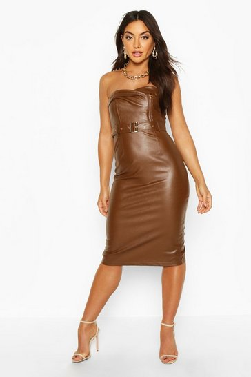 Womens Chocolate Bandeau Leather Look Belted Midi Dress