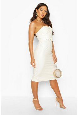 White Bandeau Leather Look Belted Midi Dress