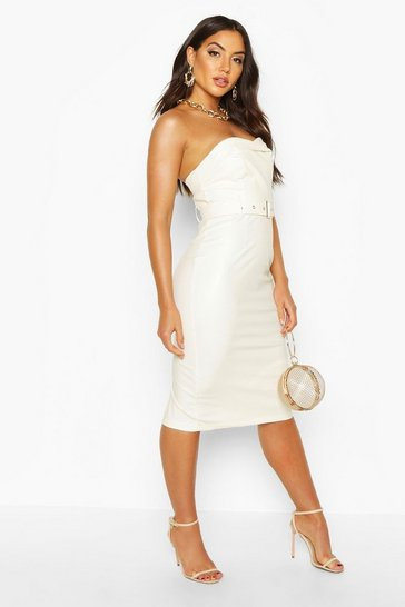 Womens White Bandeau Leather Look Belted Midi Dress
