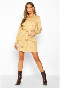 Womens Stone Utility Style Belted Shirt Dress