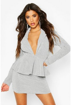 Womens Silver Peplum Structured Glitter Dress