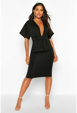 Black Cape Plunge Midi Dress