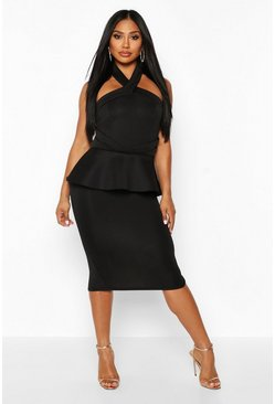 Black Halterneck Peplum Bodycon Midi Dress