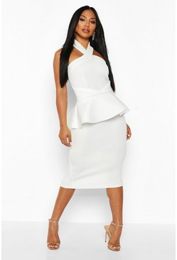 Ivory Halterneck Peplum Bodycon Midi Dress