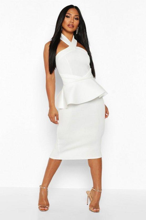 Halterneck Peplum Bodycon Midi Dress