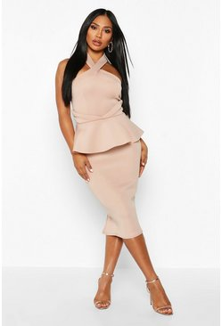 Womens Stone Halterneck Peplum Bodycon Midi Dress