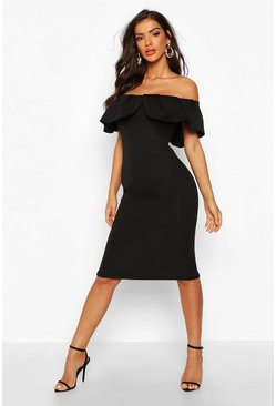 Black Bardot Pleat Frill Midi Dress
