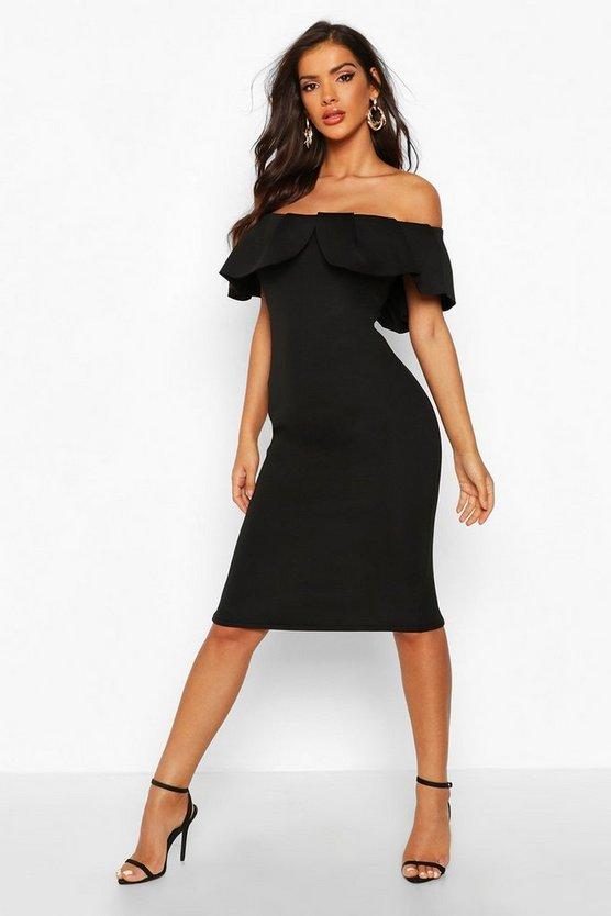 Bardot Pleat Frill Midi Dress