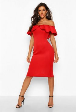 Womens Red Bardot Pleat Frill Midi Dress