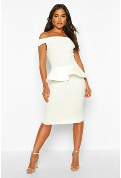 Ivory Off The Shoulder Peplum Detail Midi Dress