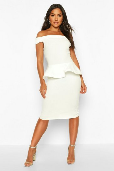 Womens Ivory Bardot Peplum Detail Midi Dress