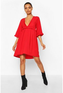 Womens Red Woven Ruffle Detail Smock Dress