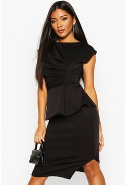 Black Peplum Detail Ruched Midi Dress