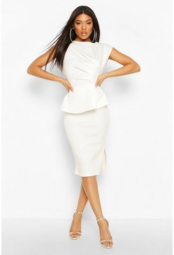 White Peplum Detail Ruched Midi Dress