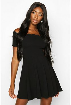 Black Scallop Edge Bardot Skater Dress