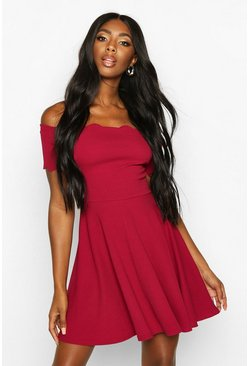 Womens Raspberry Scallop Edge Bardot Skater Dress