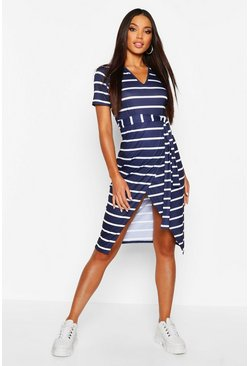 Womens Navy Stripe V Neck Wrap Belted Midi TShirt Dress