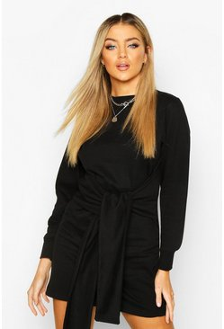 Womens Black Long Sleeve Tie Front Sweat Dress