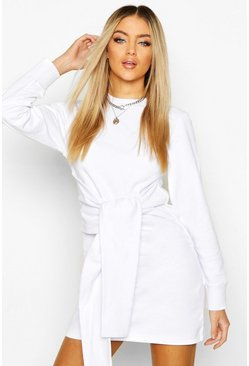 White Long Sleeve Tie Front Sweat Dress