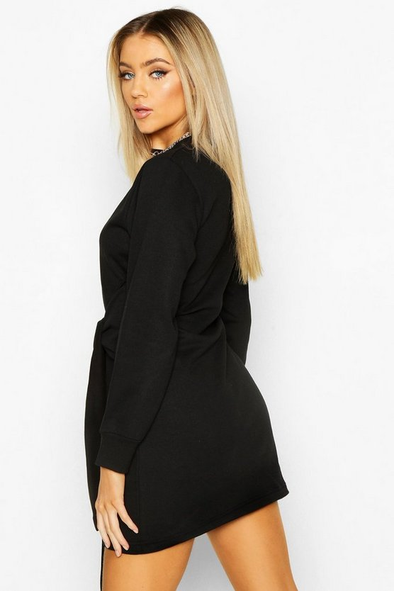 Long Sleeve Tie Front Sweat Dress
