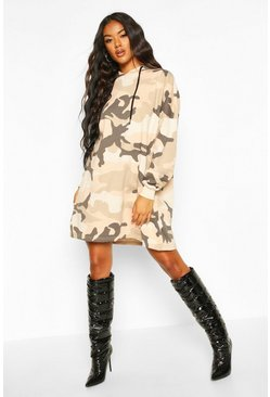 Nude Camo Hooded Sweatshirt Dress