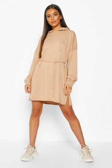 Womens Biscuit Hooded Draw String Belted Sweatshirt Dress