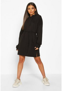 Womens Black Hooded Draw String Belted Sweatshirt Dress