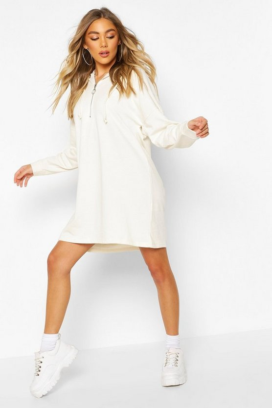 Zip Hooded Oversized Sweatshirt Dress
