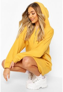 Womens Mustard Zip Hooded Oversized Sweatshirt Dress