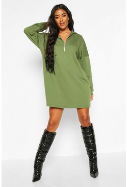 Olive Zip Hooded Oversized Sweatshirt Dress