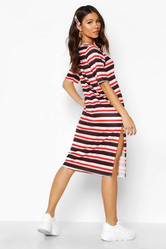 Stripe Split Midi T-Shirt Dress