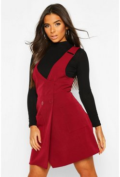 Womens Berry Pocket Front Pinafore Dress