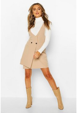 Womens Stone Pocket Front Pinafore Dress