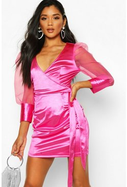 Womens Pink Organza Ruffle Sleeve Mini Dress